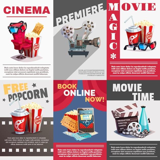 Conjunto de cartazes de cinema com publicidade de estréia Vetor grátis