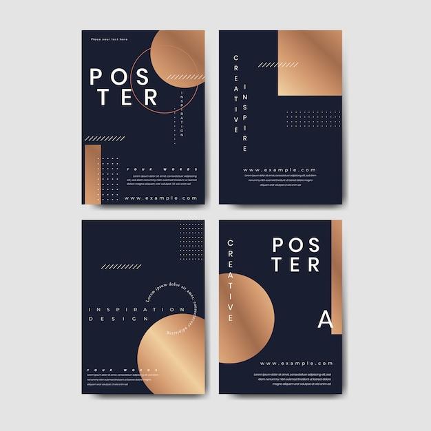 Conjunto de cartazes de cobre Vetor grátis