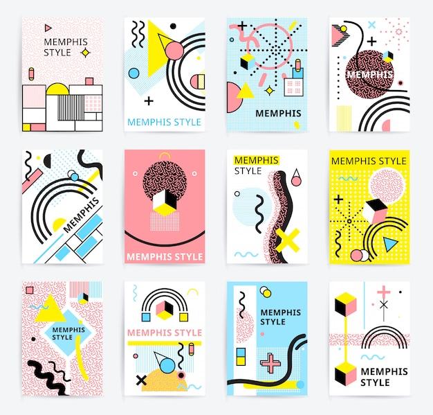 Conjunto de cartazes de estilo memphis Vetor grátis
