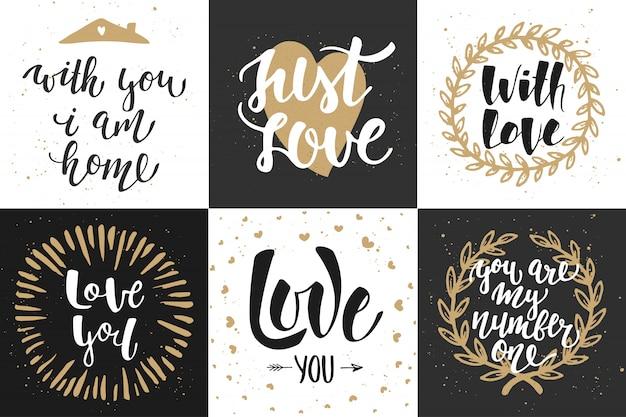 Conjunto de cartazes de letras românticas de vetor Vetor Premium