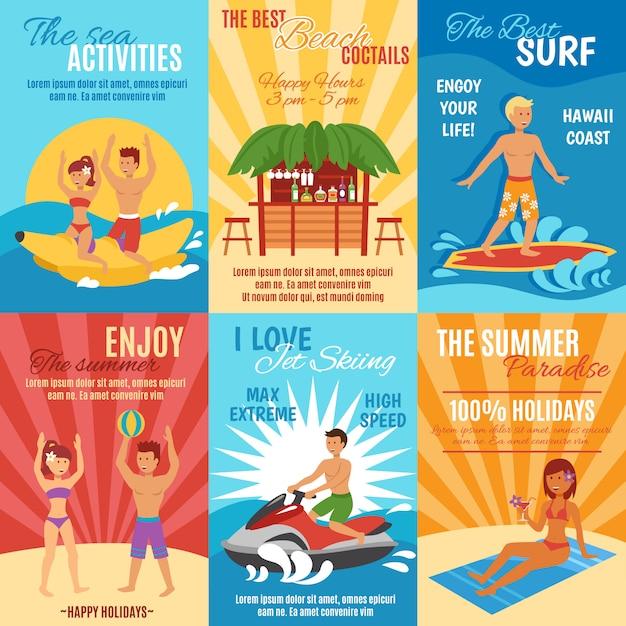 Conjunto de cartazes de praia Vetor grátis