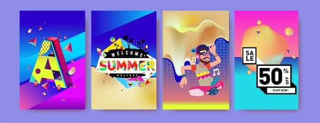 Conjunto de cartazes de promoção e vendas de férias de verão Vetor Premium