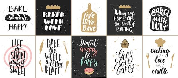 Conjunto de cartazes de rotulação de padaria Vetor Premium