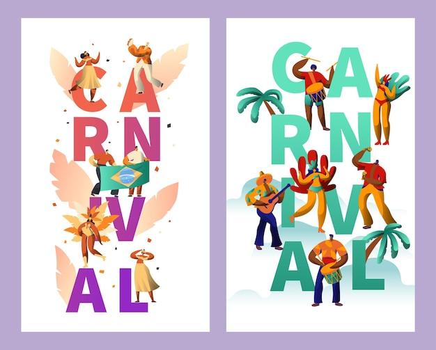 Conjunto de cartazes de tipografia de personagem de carnaval brasileiro. Vetor Premium
