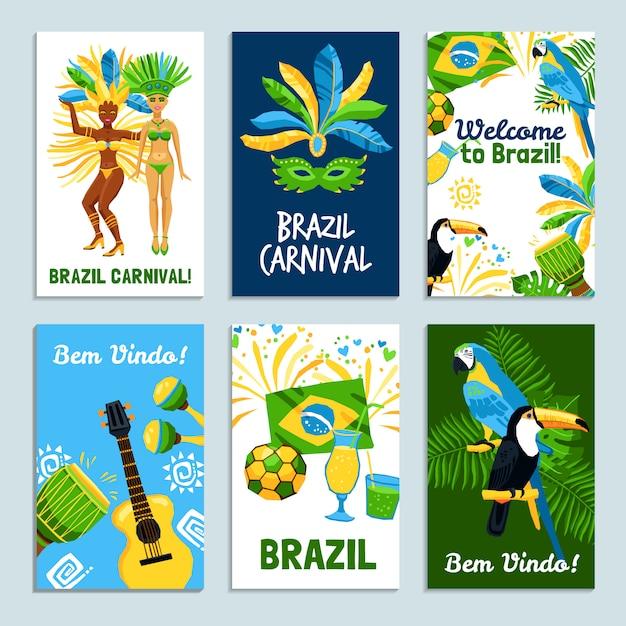 Conjunto de cartazes do brasil Vetor grátis