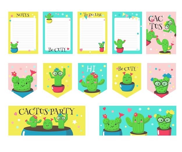 Conjunto de cartões com cactos engraçados fofos e citações Vetor Premium
