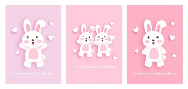 Conjunto de cartões com coelhos bonitos. Vetor Premium