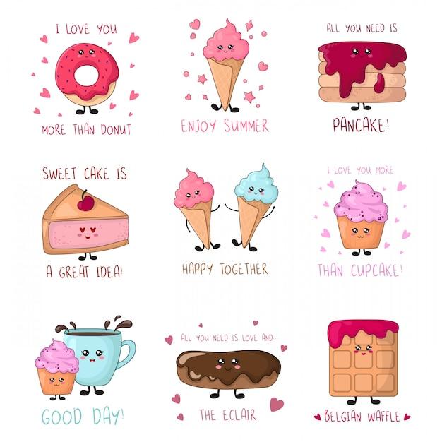 Conjunto de cartões com comida doce kawaii - bolos, sorvete, donut Vetor Premium
