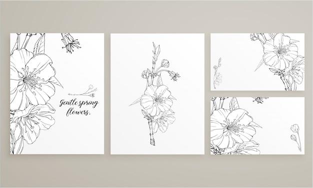 Conjunto de cartões com delicadas flores da primavera Vetor Premium