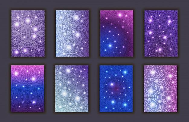 Conjunto de cartões com elementos decorativos brilhantes florais decorativos de mandala. Vetor Premium