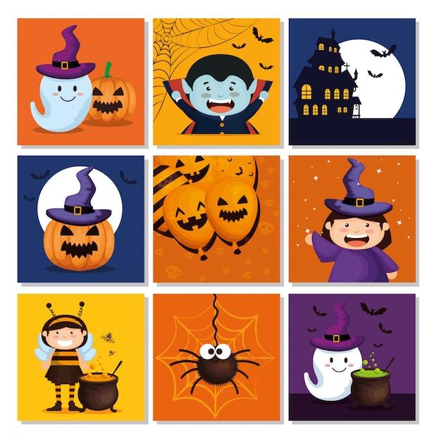 Conjunto de cartões com elementos do dia das bruxas Vetor grátis
