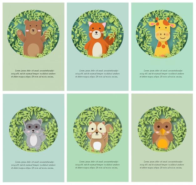 Conjunto de cartões de animais em estilo de corte e artesanato de papel. Vetor Premium