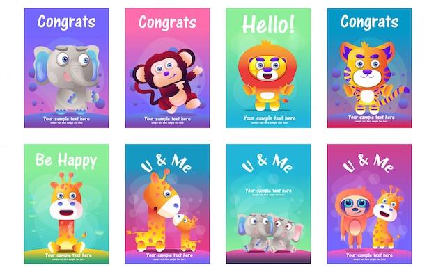 Conjunto de cartões de animais fofos Vetor Premium