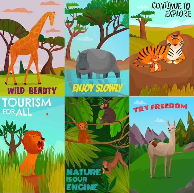 Conjunto de cartões de animais selvagens Vetor grátis