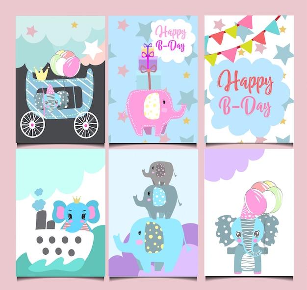 Conjunto de cartões de aniversário bonito. Vetor Premium