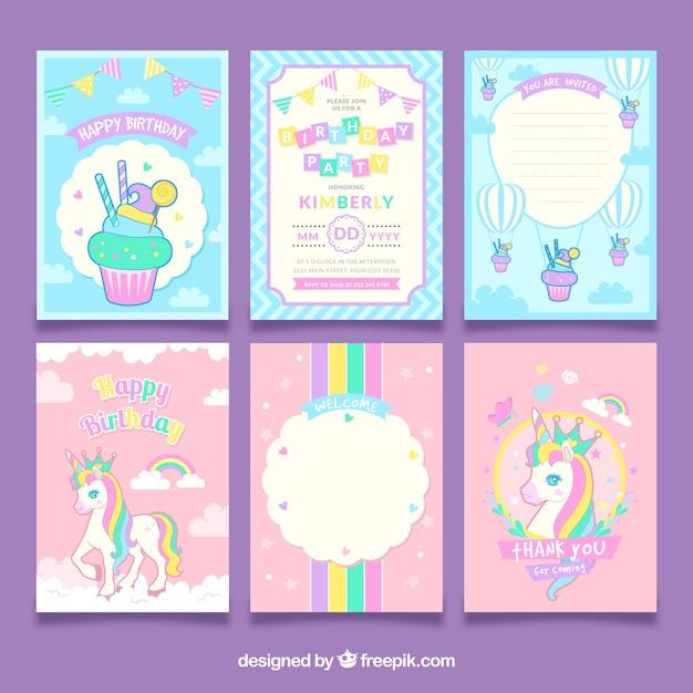 Conjunto de cartões de aniversário de unicórnio Vetor grátis