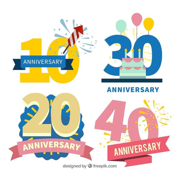Conjunto de cartões de aniversário em estilo simples Vetor grátis