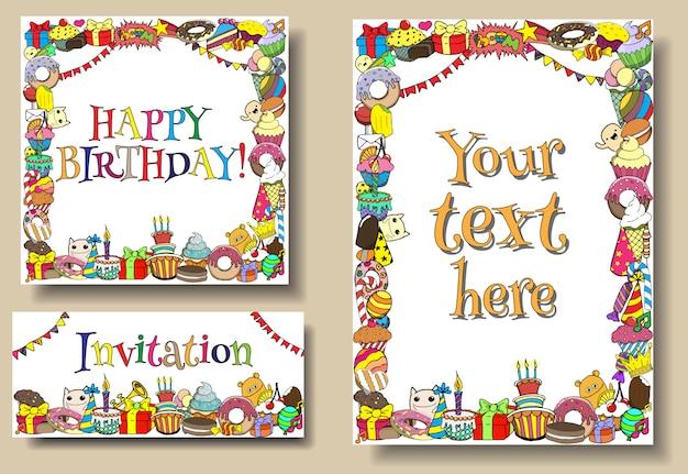 Conjunto de cartões de aniversário festa com doces doodles fronteiras Vetor Premium