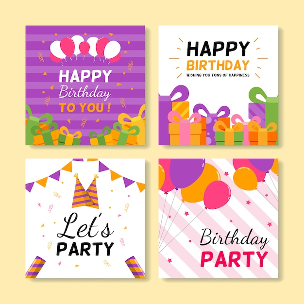 Conjunto de cartões de aniversário quadrados Vetor Premium