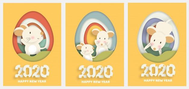 Conjunto de cartões de ano novo. ano novo chinês 2020 ano do rato. Vetor Premium