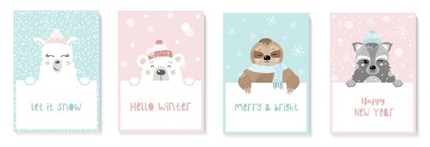 Conjunto de cartões de ano novo bonitinho com animais. preguiça, lhama, guaxinim, urso Vetor Premium