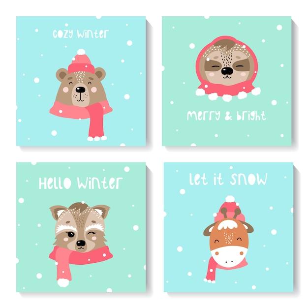 Conjunto de cartões de ano novo com animais fofos Vetor Premium