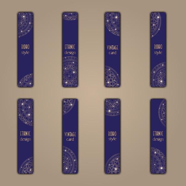 Conjunto de cartões de banner com fundo de elementos de mandala decorativos brilhantes florais Vetor Premium