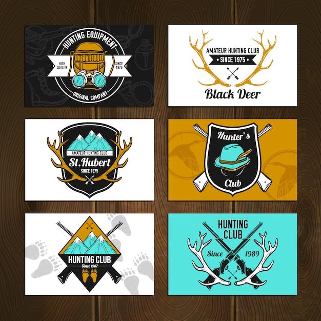 Conjunto de cartões de caça coloridos Vetor grátis