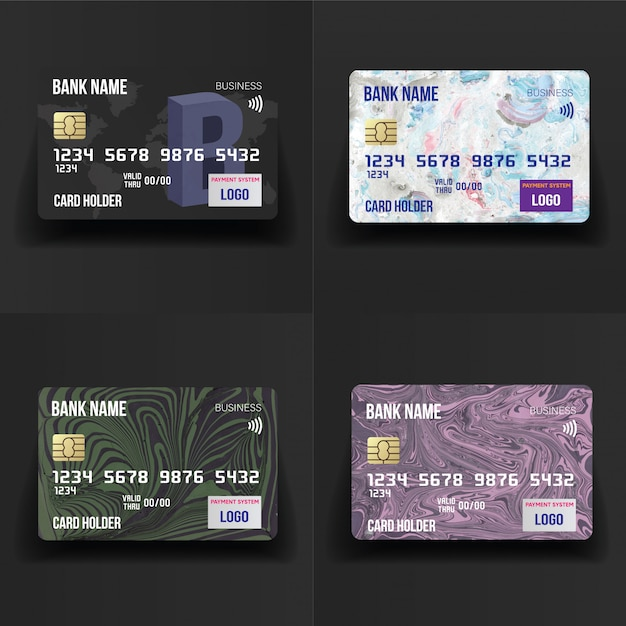 Conjunto de cartões de crédito detalhado realista Vetor Premium