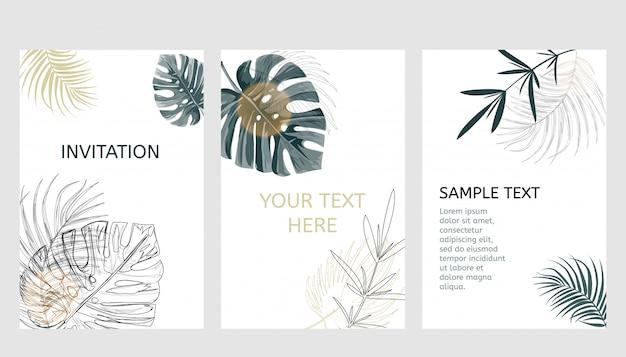 Conjunto de cartões de design tropical. Vetor Premium