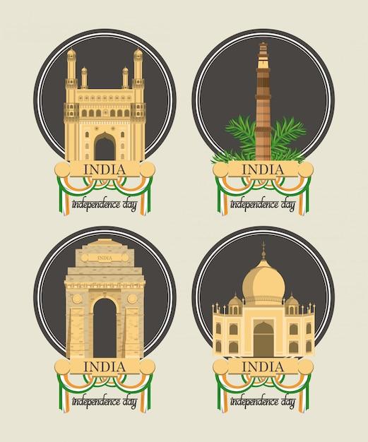 Conjunto de cartões de dia da independência de india colorido Vetor grátis