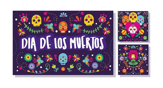 Conjunto de cartões de dia de muertos Vetor grátis