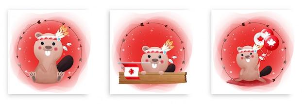 Conjunto de cartões de dia do canadá com castor bonitinho e bandeira do canadá em fundo vermelho e branco. feliz dia do canadá. Vetor Premium