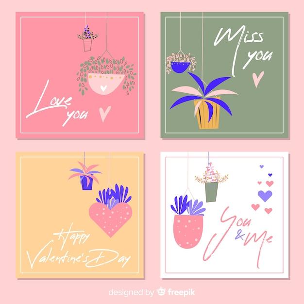 Conjunto de cartões de dia dos namorados Vetor grátis