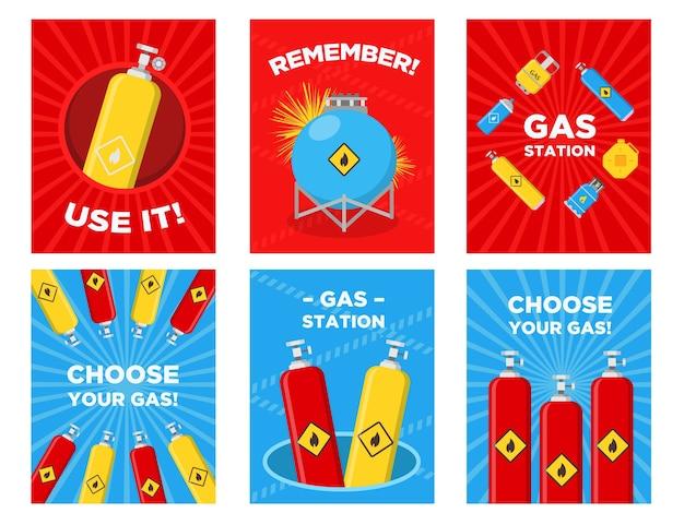 Conjunto de cartões de felicitações de posto de gasolina. cilindros, tanques, vasilhas com ilustrações vetoriais de sinais inflamáveis com texto publicitário. modelos de pôsteres ou folhetos de postos de gasolina Vetor grátis