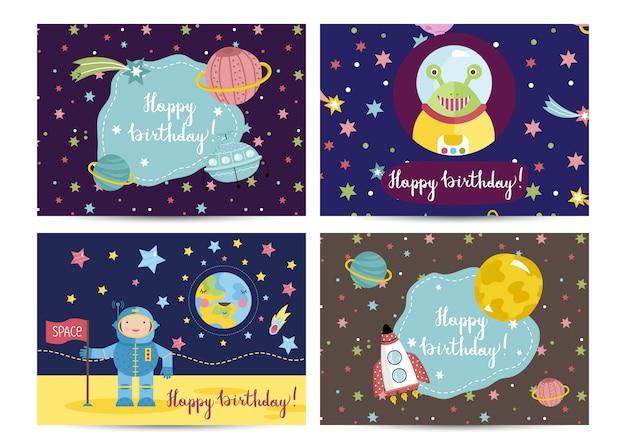 Conjunto de cartões de feliz aniversário vector cartoon Vetor Premium