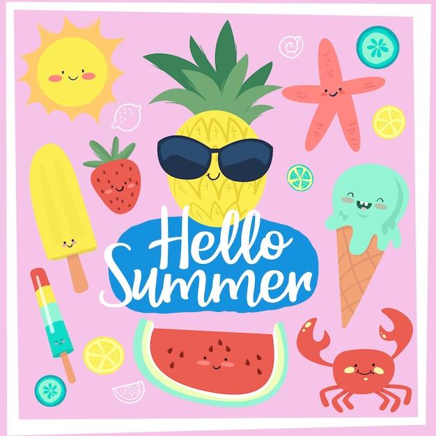 Conjunto de cartões de férias de verão divertido doodle Vetor Premium