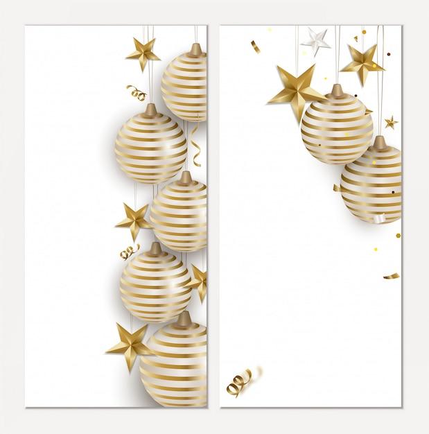 Conjunto de cartões de férias para o natal e ano novo. Vetor Premium
