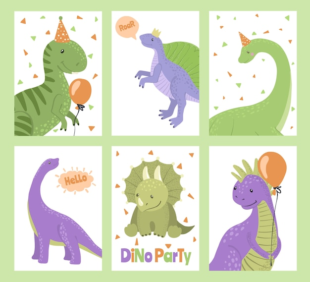 Conjunto de cartões de festa com dinossauros dos desenhos animados. Vetor Premium