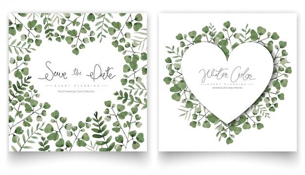 Conjunto de cartões de folhas verdes em aquarela. Vetor Premium