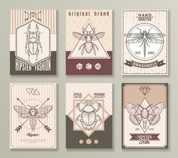 Conjunto de cartões de hipster de insetos Vetor grátis