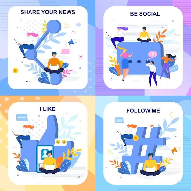 Conjunto de cartões de letras sociais planas em estilo floral Vetor Premium