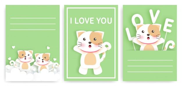 Conjunto de cartões de modelo com gatos fofos. Vetor Premium