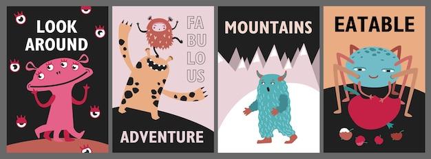 Conjunto de cartões de monstros. criaturas engraçadas fofas ou ilustrações vetoriais de bestas com texto. show for kids conceito de panfletos, folhetos, pôsteres Vetor grátis