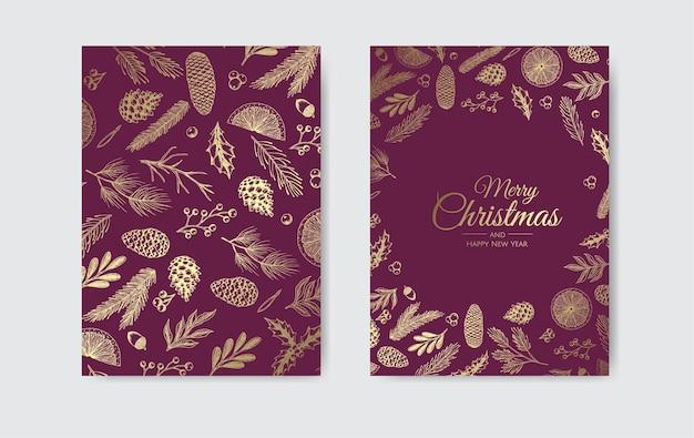 Conjunto de cartões de natal do vetor. modelos de cartões de festas natalinas Vetor Premium