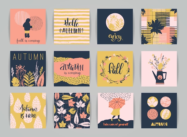 Conjunto de cartões de outono. Vetor Premium