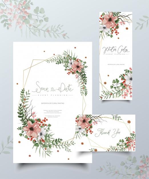 Conjunto de cartões de pintura floral em aquarela. Vetor Premium