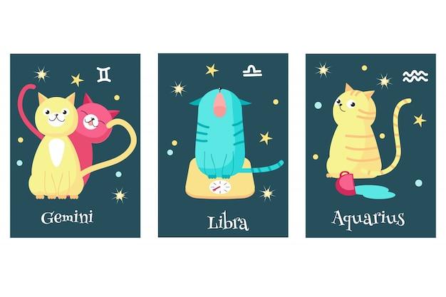 Conjunto de cartões de signo do zodíaco astrologia gato Vetor Premium