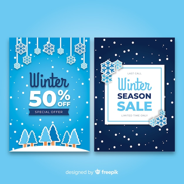 Conjunto de cartões de venda de inverno plana Vetor grátis