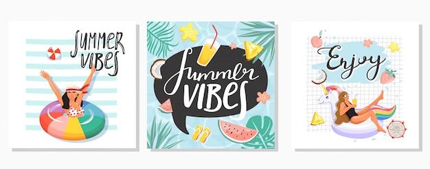 Conjunto de cartões de verão Vetor Premium